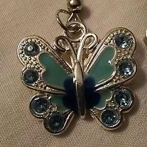 (NWT) blue butterfly earrings